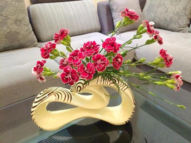 """Hoa cẩm chướng là loài hoa rất bền. Mỗi bông thường có nụ xanh đi kèm tạo nên không gian """"đa màu sắc""""."""