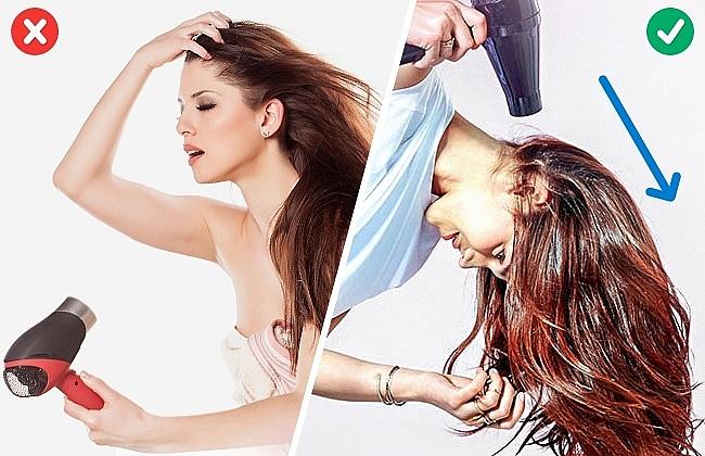 Cúi đầu xuống khi sấy là cách hữu hiệu giúp tăng độ phồng cho tóc.