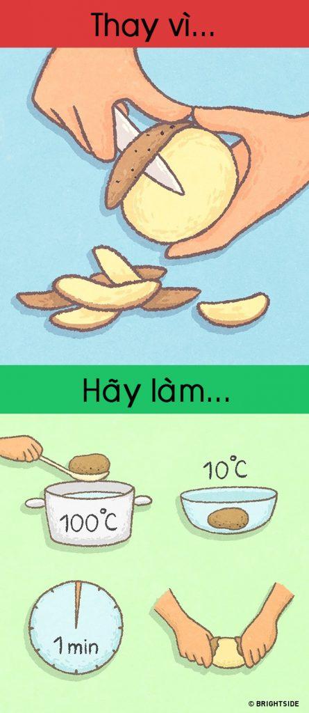 """Thay vì gọt, hãy luộc qua củ khoai tây và """"tuột"""" vỏ chúng trong vòng 1′"""