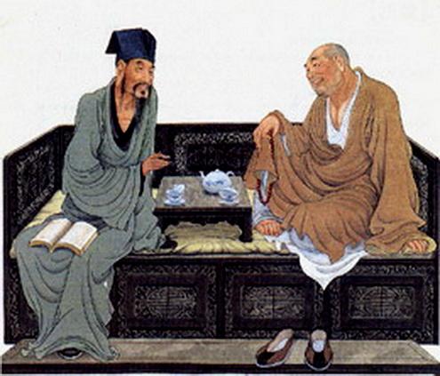 Hòa thượng mời trà Tô Đông Pha. Ảnh dẫn theo bloggang.com