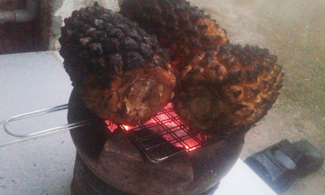 Dứa nướng trên bếp than.