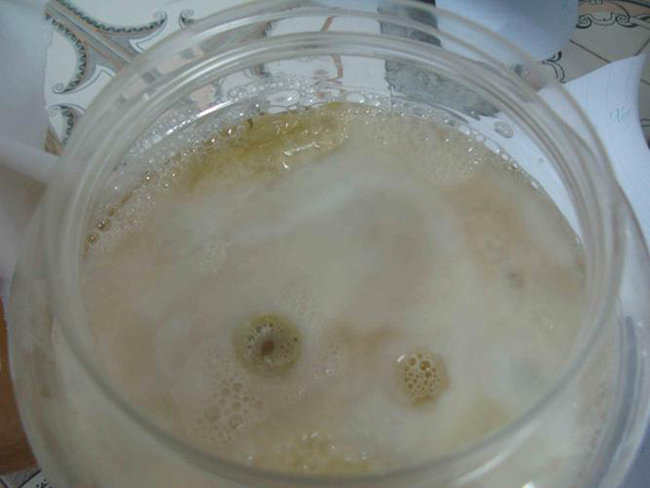 Từ từ trên bề mặt hỗn hợp sẽ đóng thành một lớp váng màu trắng đục, đây chính là con giấm. Thời gian này diễn ra trong khoảng từ 45 đến 60 ngày. (Ảnh: Internet)